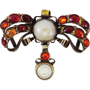 "FABULOUS Early Georgian Hessonite Garnet/Pearl/Silver Gilt ""Oil and Vinegar"" Sevigne Bow Pendant, c.1740!"