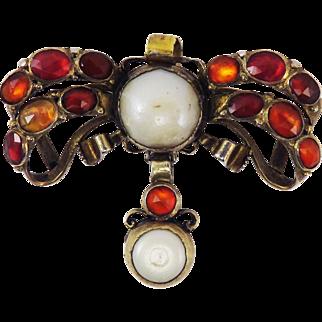 """FABULOUS Early Georgian Hessonite Garnet/Pearl/Silver Gilt """"Oil and Vinegar"""" Sevigne Bow Pendant, c.1740!"""