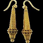 "FANTASTIC 2 1/2"" Georgian Pinchbeck/15k Torpedo Earrings, c.1825!"