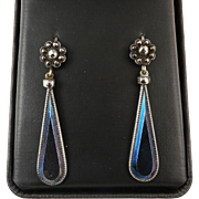 SO RARE Georgian Cut Steel/Blued Steel/9k Drop Earrings, c.1795!