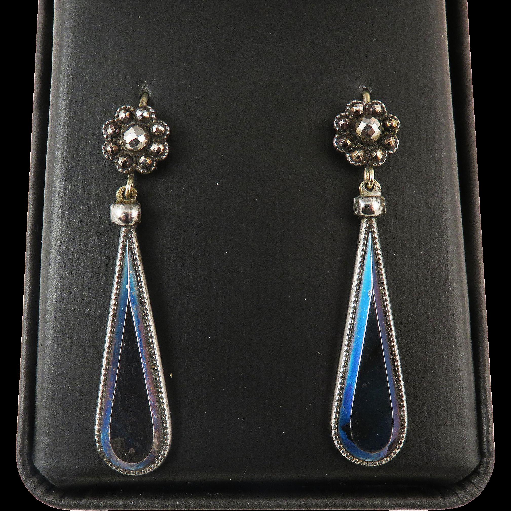 SO RARE Georgian Cut Steel/Blued Steel/9k Drop Earrings, c.1795!