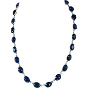"""LUSCIOUS Victorian 17 1/2"""" Deep Teal Blue Paste/Sterling Riviere Necklace, c.1855!"""
