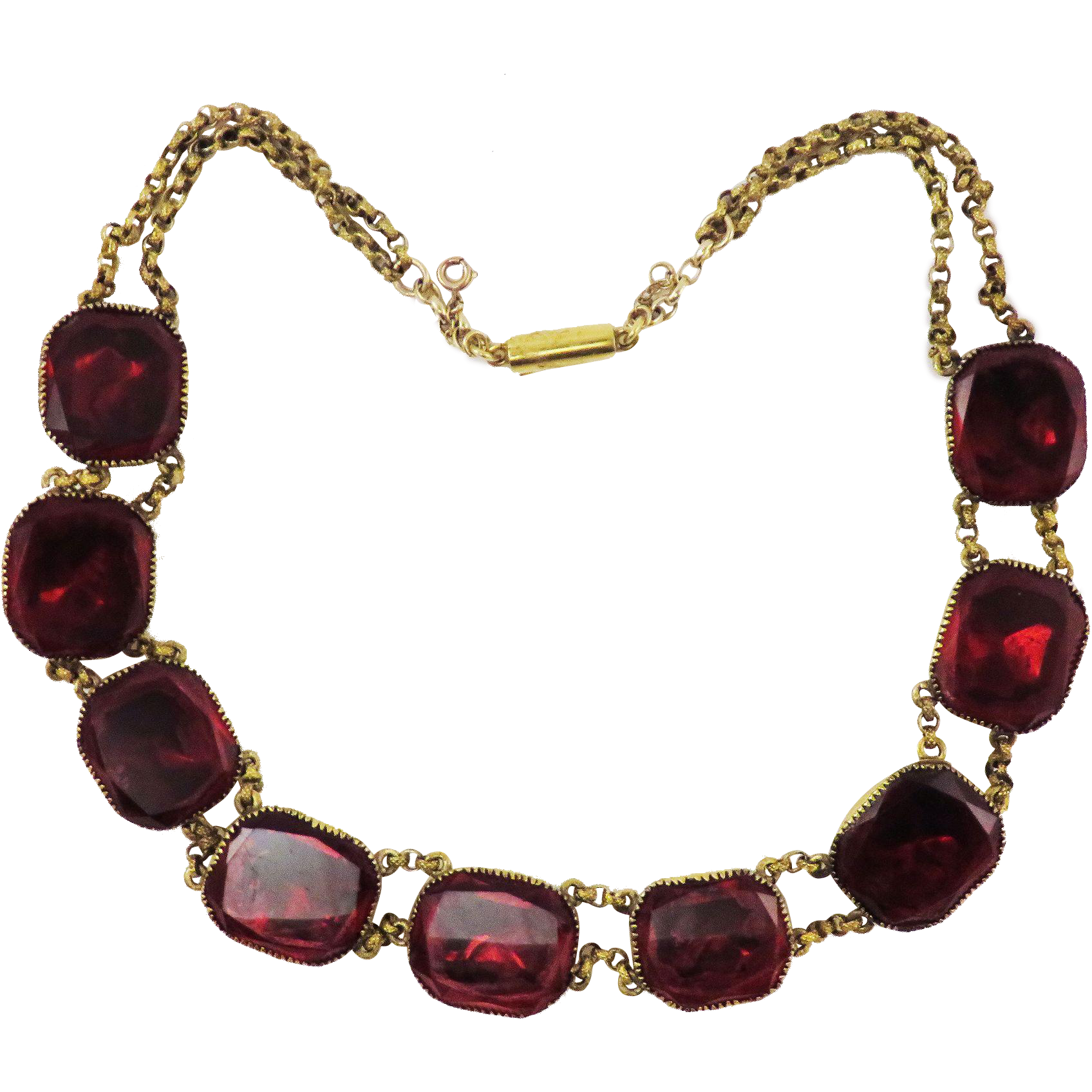 WOWEE!  Vibrant Red Queen Anne Paste/Gilt/Pinchbeck Necklace, c.1740/1820!