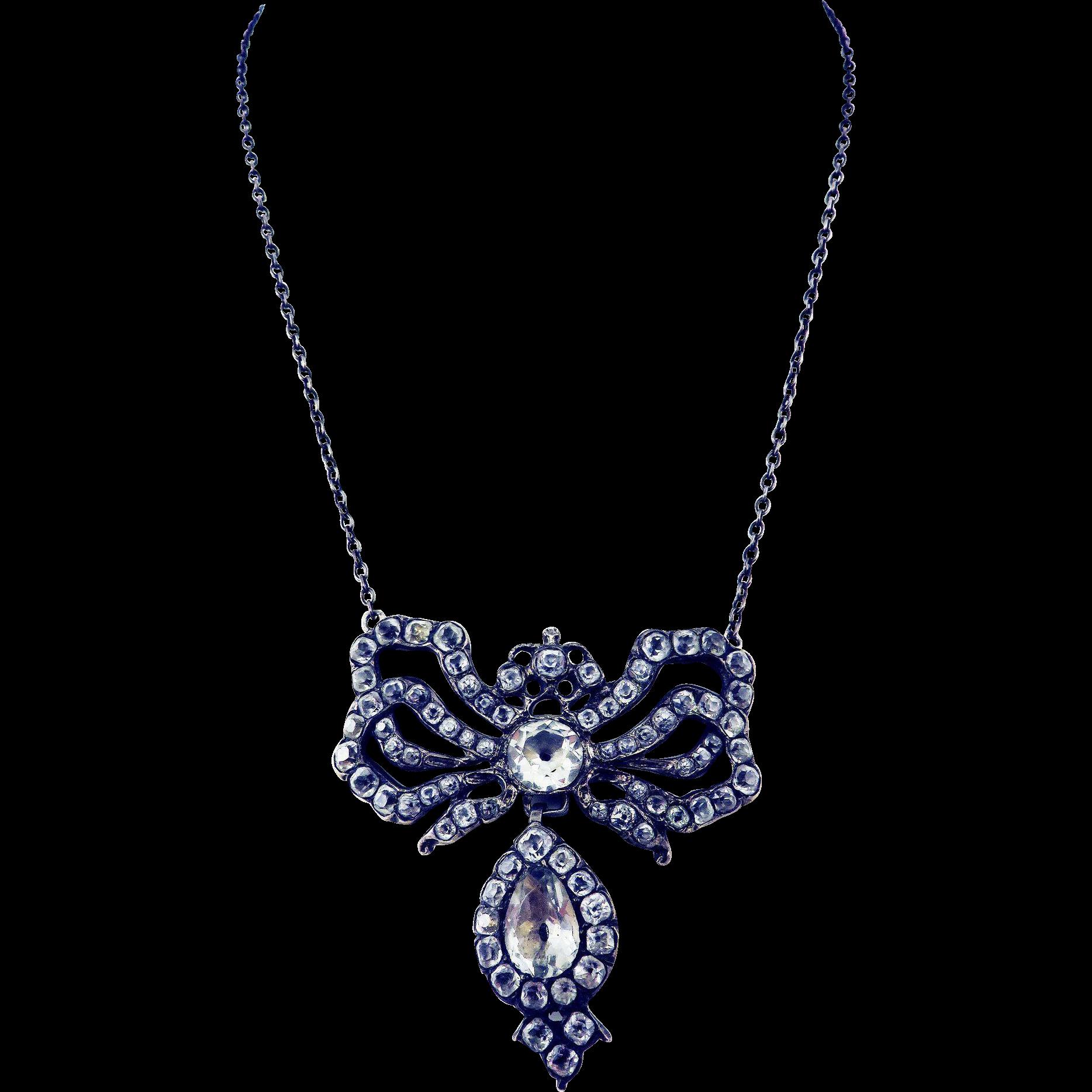 "GLOWING Georgian ""Black Spot"" Paste/Sterling Sevigne Bow & Drop Necklace, c.1770!"
