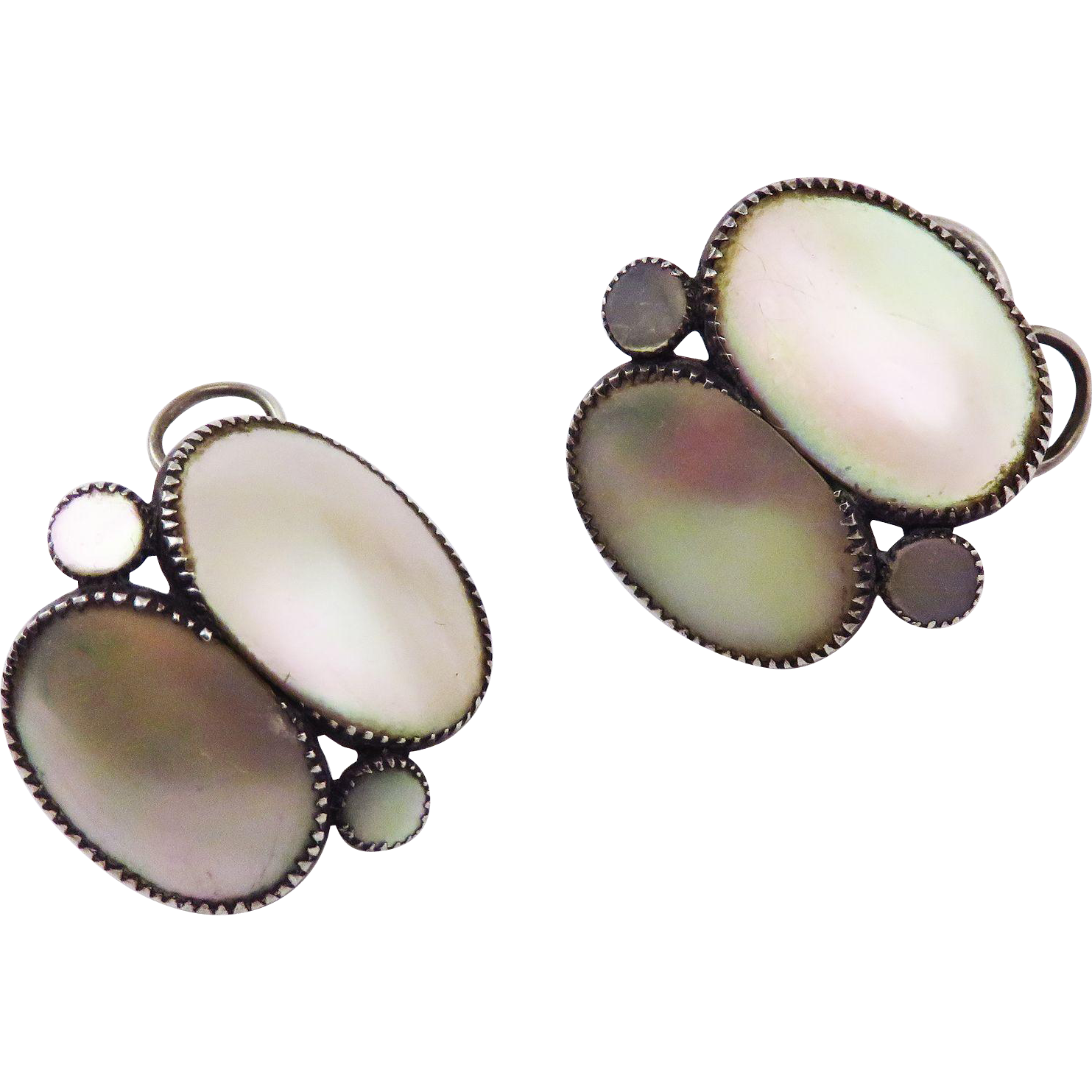 "LUMINOUS Queen Anne Mother of Pearl/Sterling ""Snap"" Earrings, c.1745!"
