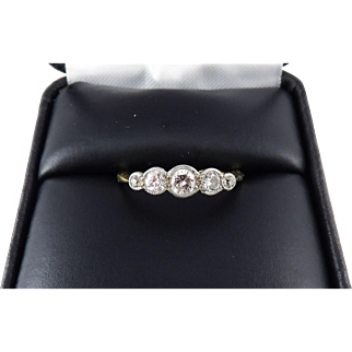 LOVELY QUALITY .45 Ct. TW Edwardian Five Stone Diamond/Platinum/18k Ring, c.1905!