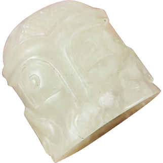 QING DYNASTY White Jadeite Archer's Ring Carved w/Tao Ti'eh Masks & Clouds, 27.48 Grams, c.1880!