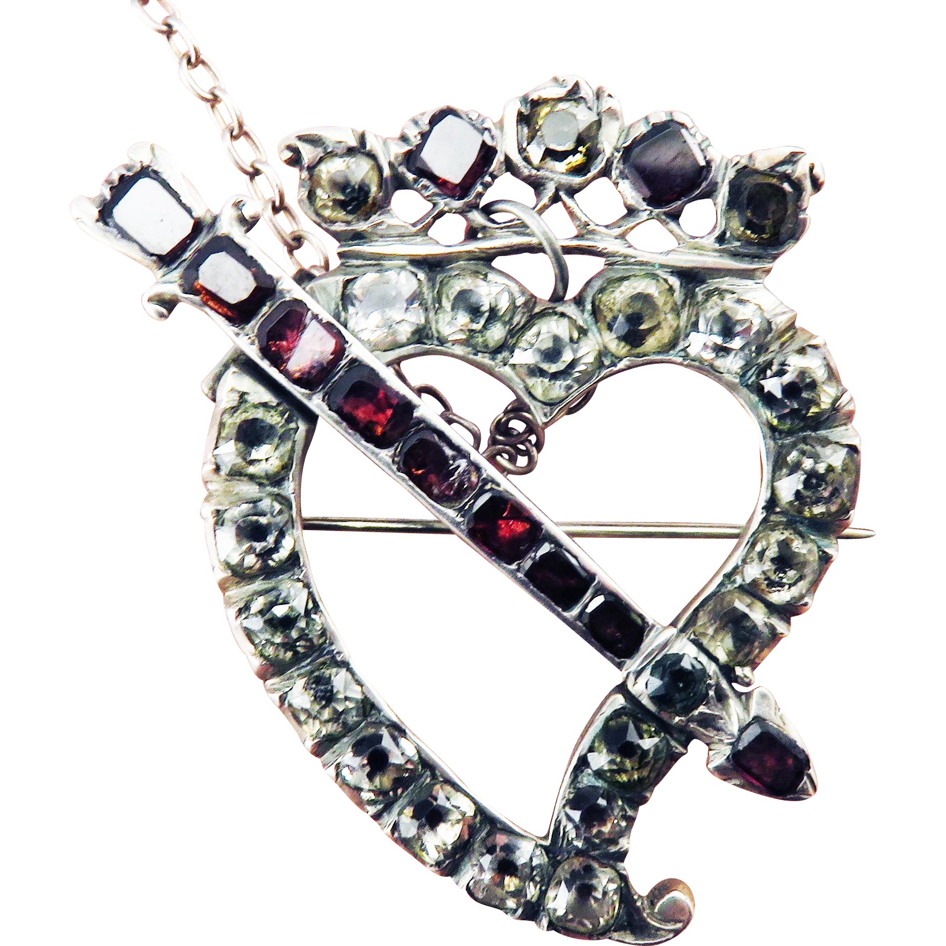 SO ROMANTIC Large Georgian Garnet/Paste/Sterling Crowned Witches Heart w/Arrow Brooch, c.1765!
