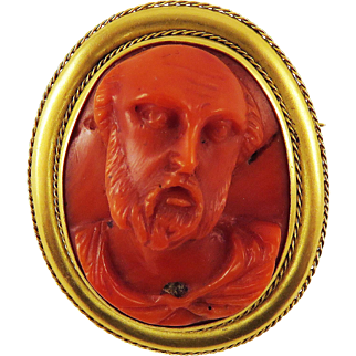 REMARKABLE Trapani Workshop Coral Cameo of a Biblical Patriarch Set in Modern 14k Brooch, c.1675/1920!