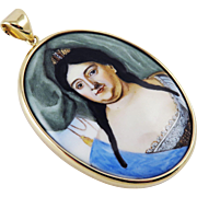 LIFETIME Enamel on Copper Portrait Miniature of Empress Anna of Russia in Modern 14k Pendant, c.1730!
