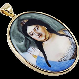 LIFETIME Enamel on Copper Portrait Miniature of Empress Anna of Russia in Modern 14k Pendant, c.1730!