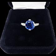 MAGNIFICENT 3.87 Ct. TW Untreated Ceylon Sapphire Solitaire/Diamond/Platinum Ring, c.1905!