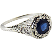 HEARTS & FLOWERS 1.25 Ct Natural Sapphire Solitaire/14k White Gold Ring, c.1925!