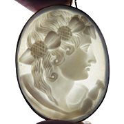 FABULOUS Georgian Oyster Shell Cameo of Ceres in 18k Frame, c.1810!