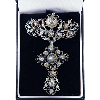 STUNNING Georgian Table- and Rose-Cut Diamond Three-Section Pendant/Brooch, c.1770!