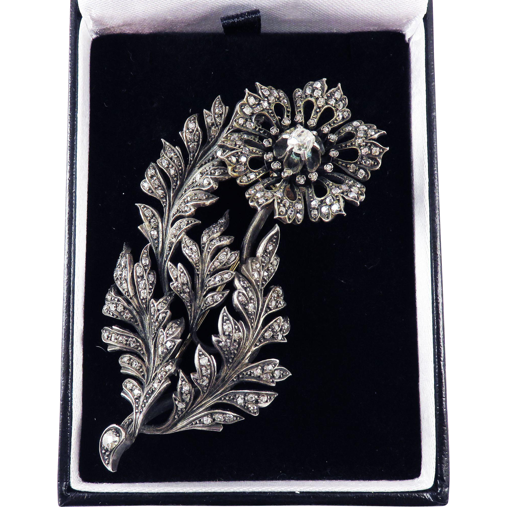 ULTIMATE 3.28 Ct. TW Victorian Old Mine-Cut Diamond Tremblant Floral Spray Brooch, c.1880!