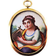 FABULOUS Neoclassical Enamel on Copper Miniature of a Lady Set in Original 18k Pendant, c.1800!