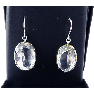 CLASSIC Regency 20.48 Ct. TW Rock Crystal Solitaire/Sterling Drop Earrings, c.1810!