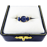 SUPERB BARGAIN Victorian 2.14 Ct. TW Natural Sapphire Trilogy/14k Ring, c.1885!