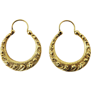 PRISTINE American Early Victorian Ornate Solid 14k Chased Hoop Earrings, 6.96 Grams, c.1845!