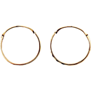 IMMACULATE XL French Georgian Faceted 14k Rose Gold Creole Hoop Earrings, c.1800!
