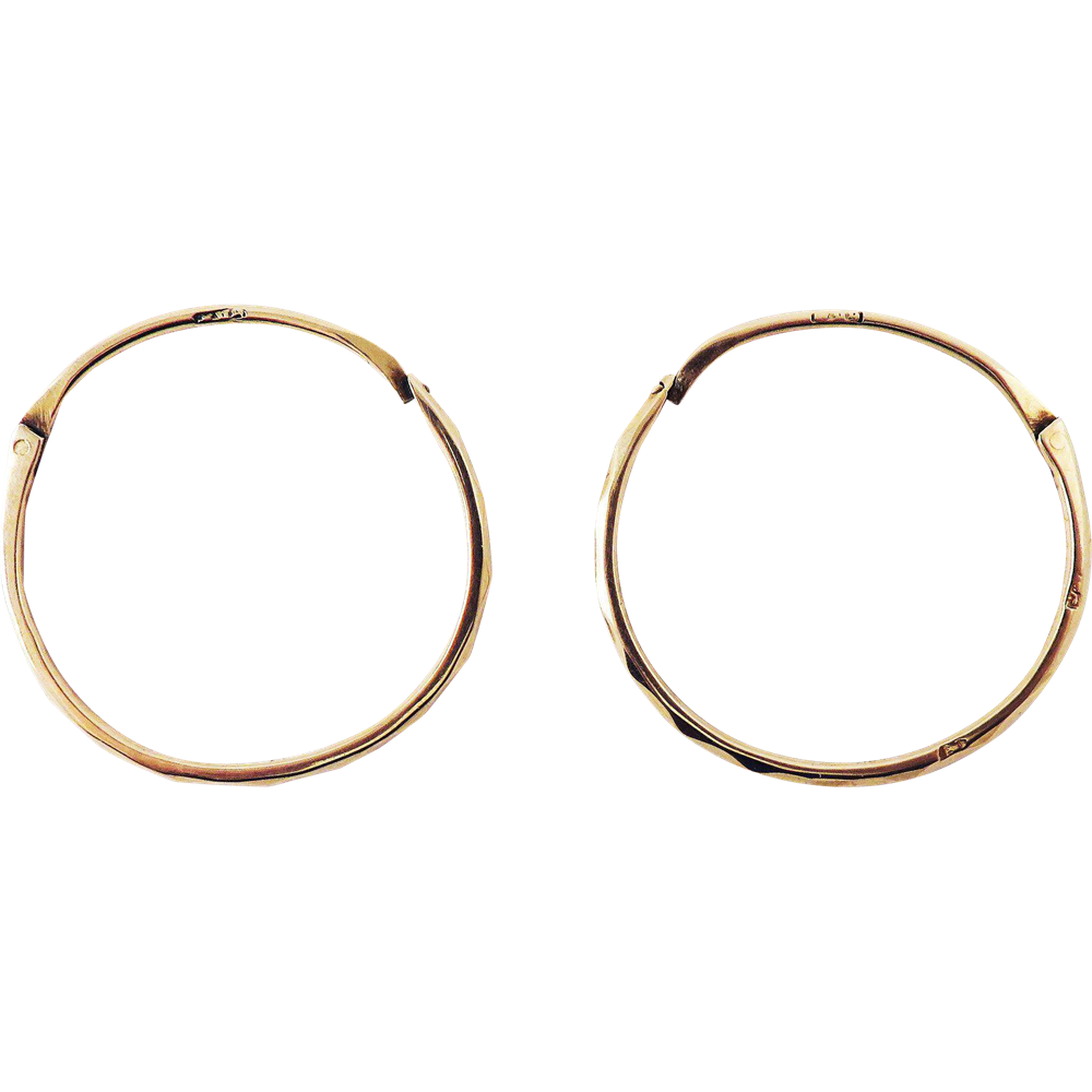 IMMACULATE XL French Georgian 14k Rose Gold Faceted Creole Hoop Earrings, c.1800!