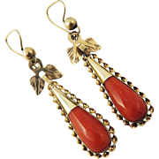 GORGEOUS Early Victorian Faceted Sicilian Coral/2-Color 14k/18k Gold Earrings, c.1840!