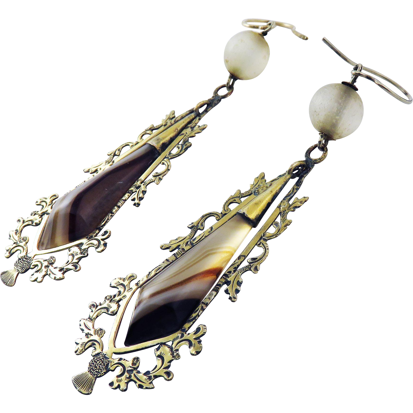 """SPLENDID 3"""" Scottish Banded Agate/Fluorite/Copper Gilt/14k Earrings, c.1845!"""