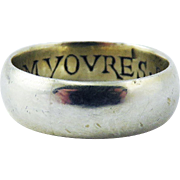 "IMPORTANT Tudor Silver Gilt/Enamel Amatory Posy Wedding Ring, ""I Am Yovres/Be Myne,"" c.1585!"