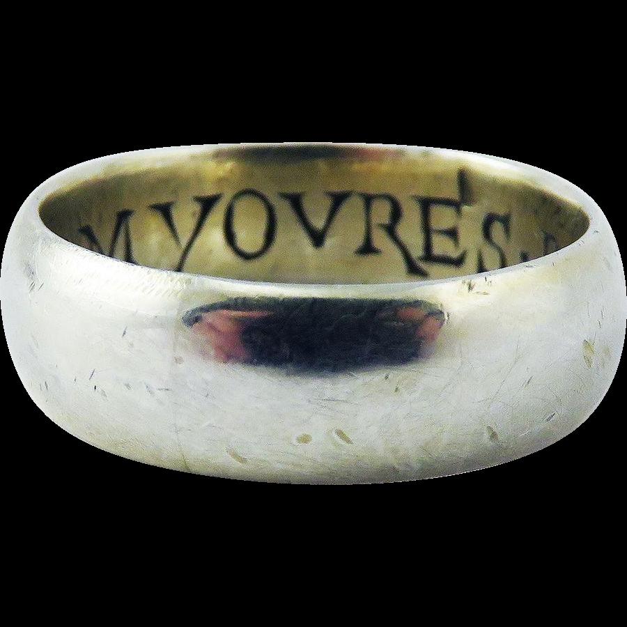 "IMPORTANT Tudor Silver Gilt/Enamel Amatory Posy Wedding Ring, ""I Am Yovres/Be Myne,"" c.1585!"