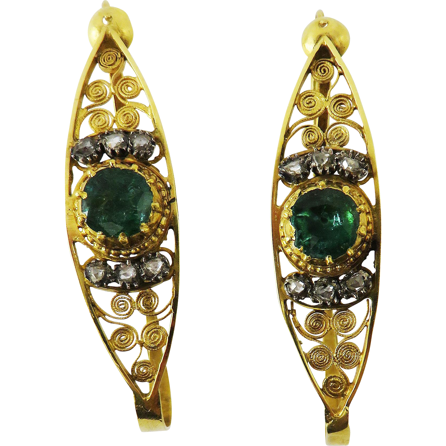 MASTERPIECE 2.36 Ct. TW Spanish Muzo Mine Emerald/Diamond/18k Poissard Earrings, c.1800!