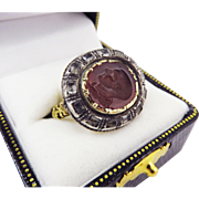 PHENOMENAL Stuart-Era Rock Crystal/Silver Gilt Ring Set w/Roman Glass Intaglio of Emperor Claudius, c.50/1670 AD!