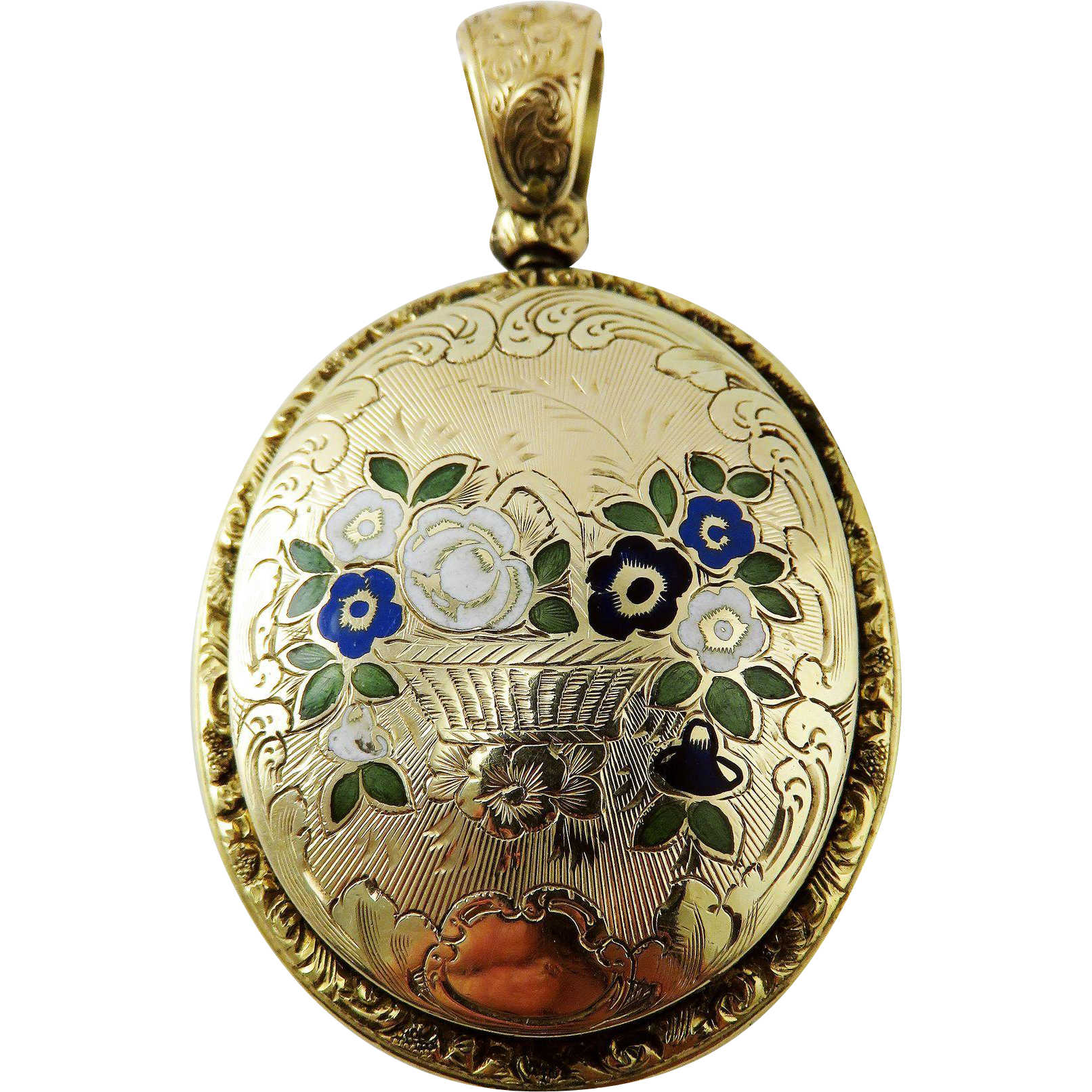 "ULTIMATE ""New Old Stock"" American Floral Theorum-Motif Enamel/14k Daguerreotype Locket, 24.19 Grams, c.1850!"