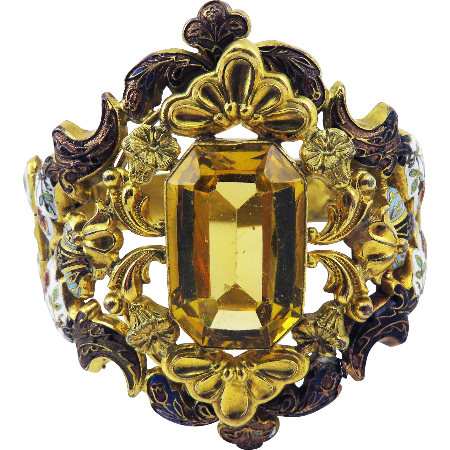 MAJESTIC William IV 21.6 Ct. Citrine/Swiss Enamel Cuff Bracelet, c.1835!