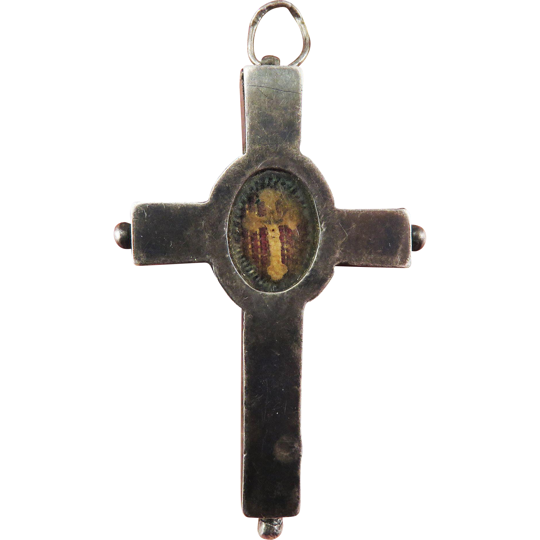SUPERB First Class Relic in Sterling Reliquary Pendant Cross, Red Seal and Vatican Hallmark, c.1800!