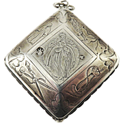 "MUSEUM-WORTHY 3"" Continental Double-Sided Sterling Reliquary Pendant, Virgin Mary & St. John, Maker's Marks, c.1650!"