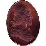 ELOQUENT Georgian Carnelian Intaglio of Shakespeare Set in Victorian 9k Ring, 11.01 Grams, c.1790/1870!
