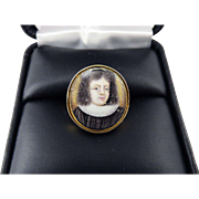 RAREST Stuart Enamel on Copper Portrait of King Frederick V of Bohemia set in Modern 18k Ring, c.1625!