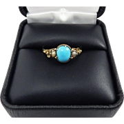 LUSCIOUS Regency Persian Turquoise/Pearl/15k Ring, Forget-Me-Nots, c.1815!