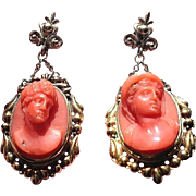 MASTERPIECE High-Victorian Sicilian Coral Cameo/14k Earrings, Hadrian and Antinous, c.1850!