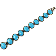 EXQUISITE French Regency-Era Blue Enamel/Marcasite/Sterling Bracelet, c.1805!