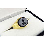 SO ELEGANT Unisex Victorian Banded Agate/18k Armorial Signet Ring, Leopard and Crown, 5.37 Grams, c.1855!
