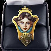 TO DIE FOR French Enamel on 18k Gold Beauty with Diamonds en Habille Set in 18k/10k Ring, 6.61 Grams, c.1890!