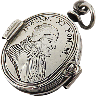 HIGHLY IMPORTANT Sterling Pope Innocent XI Double-Sided Reliquary Pendant w/Odelscachi Coat of Arms on Reverse, 1680!