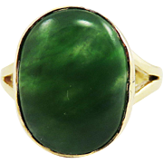 TERRIFIC Unisex Natural 8.94 Ct. Chinese Green Jadeite/14k Ring, c.1900!