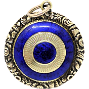 LUSCIOUS Georgian Blue Enamel/9k Front & Back Locket w/Original Optical Crystal, c.1815!