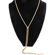"BEAUTIFUL 30"" Solid 9k Necklace w/Heart-Shaped Fleur-de-Lis Slide & Swivel Clip, 12.36 Grams, c.1880!"