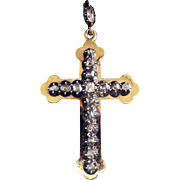 HEAVENLY Georgian 1.2 Ct TW. Table- Rose- and Kite-Cut Diamond/Silver/18k Cross Pendant, c.1790!
