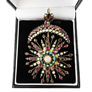 """SPECTACULAR 8+ Ct. TW Indian Flat-Cut Garnet/Turquoise/Pearl/Opal """"Moon & Star"""" Pendant in Silver Gilt, c.1835!"""