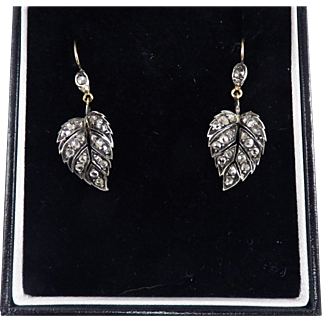 MUST-HAVE 1.21 Ct. TW Victorian Rose-Cut Diamond/Sterling/15k Leaf-Motif Drop Earrings, Boxed, c.1855!